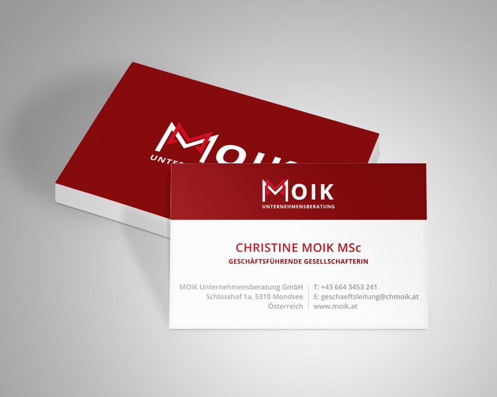Moik Unternehmensberatung Visitenkarte Design, Referenz Werbeagentur Ramses, Salzburg, Print, Marketing, Design, Grafik, Werbung