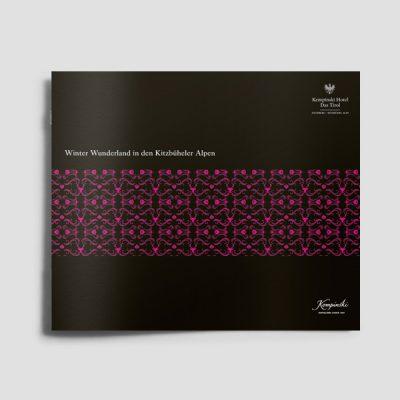Design Broschüre Kempinski Winterfolder, Referenz Werbeagentur Ramses, Salzburg, Printmedium, Print, Marketing, klasssisches Marketing, Werbung