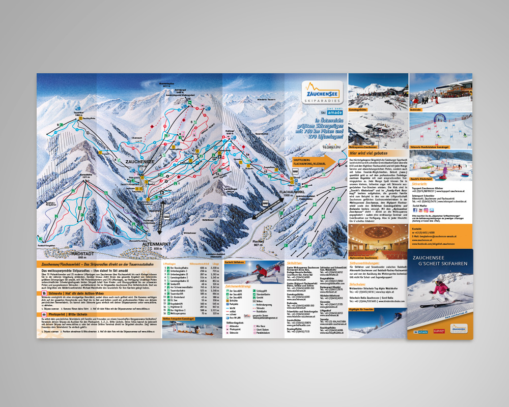 Zauchensee Skiinfofolder, Salzburg, Referenz Werbeagentur Ramses, Marketing, Printmedium, Folder, Print, Grafik, Werbung, Skifahren, Berge, Winter
